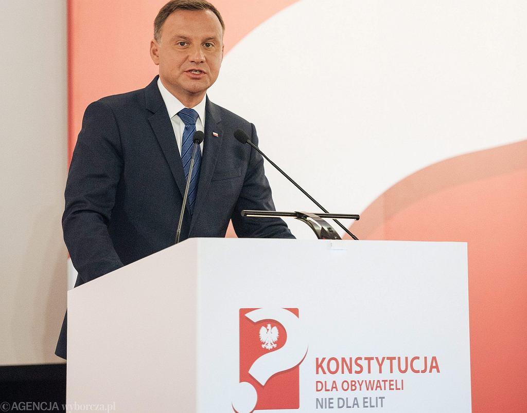 Prezydent Andrzej Duda podczas debaty ''Konstytucja dla obywateli, nie dla elit?' dot. zmian w konstytucji (fot. Bartosz Banka/AG)