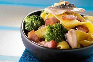 Linguini z boczkiem, pieczarkami oraz brokułami