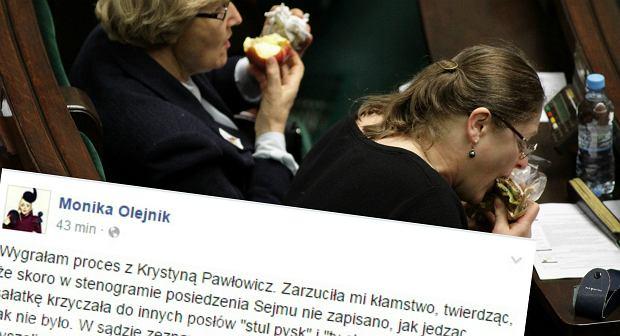 Krystyna Paw�owicz je kanapk� w Sejmie