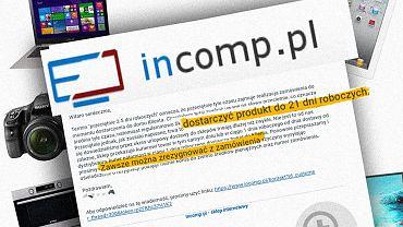Policja zamknęła sklep incomp.pl i szuka jego ofiar. W tle produkty, które oferował fikcyjny sklep internetowy.