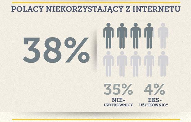 38% Polaków nie korzysta z internetu