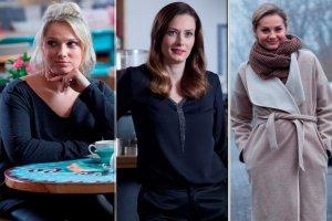 Przyjaciółki. Zdjęcia z planu 7. sezonu. Małgorzata Socha, Anita Sokołowska, Magdalena Stużyńska-Brauer i Joanna Liszowska