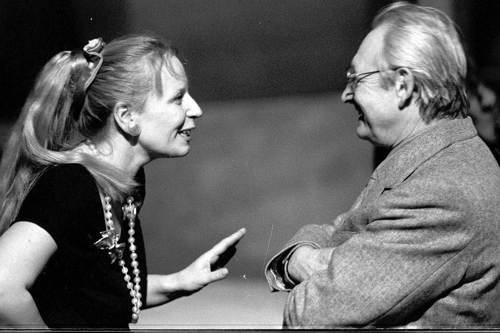 Krystyna Janda i Andrzej Wajda, 1990 r. (fot. Tadeusz Rolke / Agencja Gazeta)