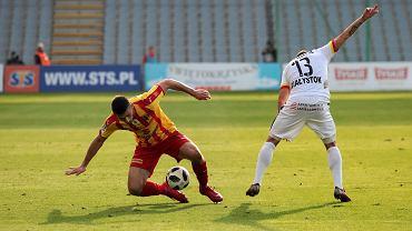 Oliver Petrak i Mile Savković podczas meczu Korona Kielce - Jagiellonia Białystok