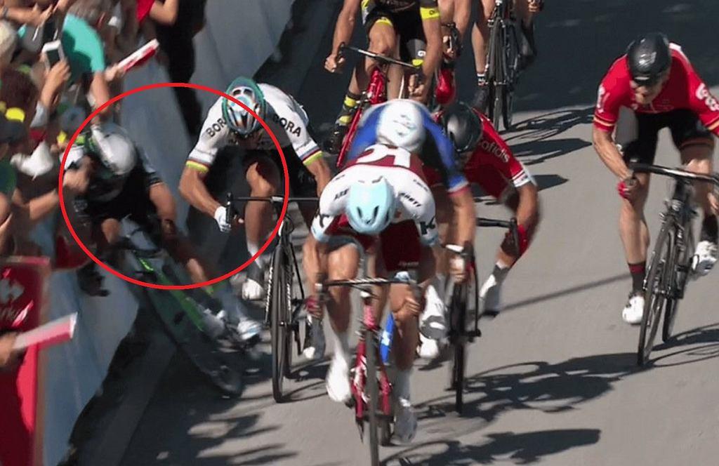 Peter Sagan spowodował upadek Marka Cavendisha