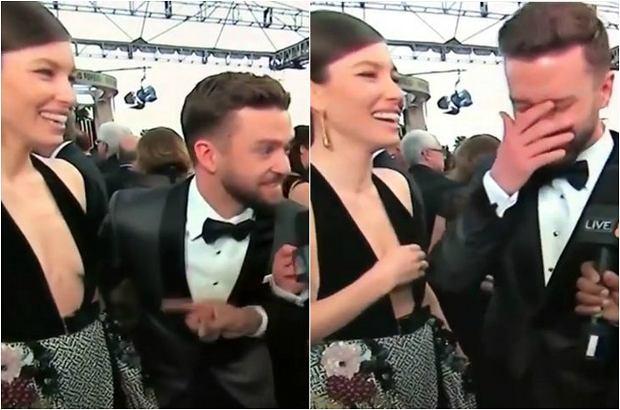 Justin Timberlake i Jessica Biel na czerwonym dywanie wyglądali pięknie, ale podczas wywiadu... Tę pomyłkę trzeba zobaczyć.