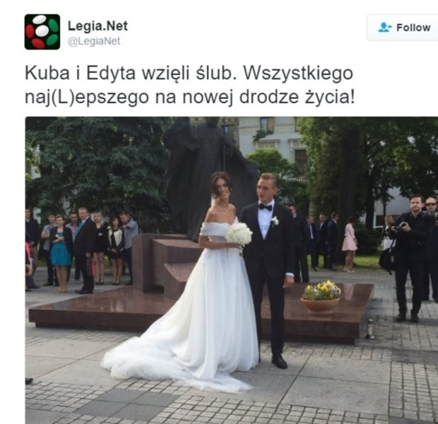 Zdjęcie numer 3 w galerii - Jakub Rzeźniczak i Edyta Zając są już po ślubie. Mamy nowe zdjęcie ZACHWYCAJĄCEJ sukni panny młodej