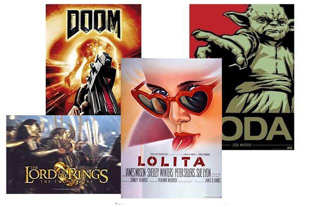Plakaty filmowe, z gier i książek