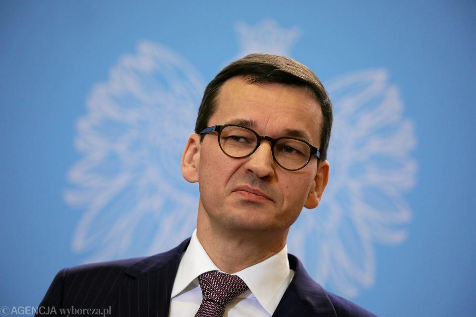 Premier rządu PiS Mateusz Morawiecki. Warszawa, KPRM, 19 grudnia 2017