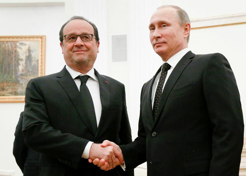 François Hollande i Władimir Putin na spotkaniu w Moskwie, 26.11.2015
