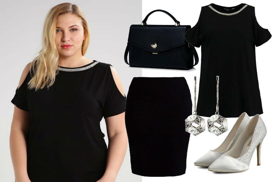 Kolaż Avanti24 / Stylizacja z bluzką cold shoulder / Materiały partnera