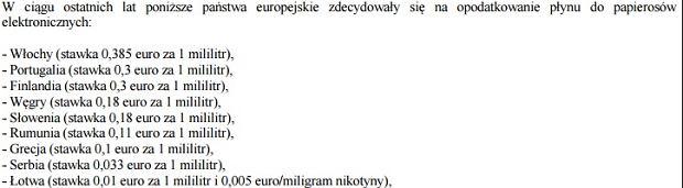 Stawki akcyzy na e-papierosy w krajach UE