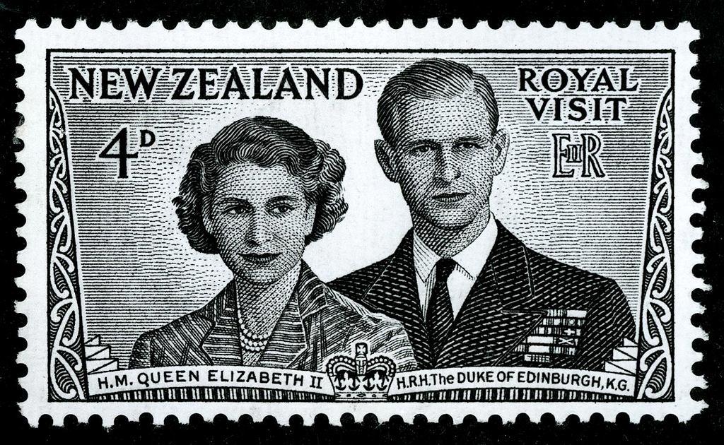 Podobizny Elżbiety i Filipa na znaczku pocztowym (fot. Archives New Zealand / Wikimedia. org / CC BY-SA 2.0)