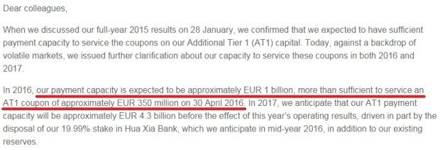 Fragment listu członka zarządu Deutsche Banku do pracowników o tym, że bank stać na spłatę swoich obligacji.