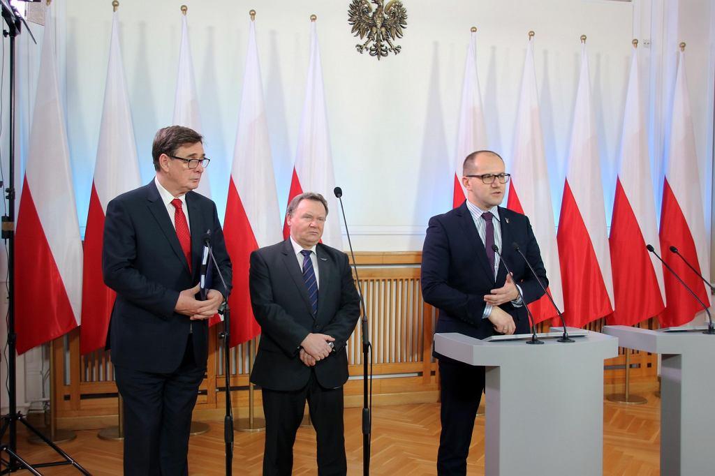Konferencja prasowa wiceministra T. Żuchowskiego oraz prezesów PKP PLK S.A. i PKP S.A.