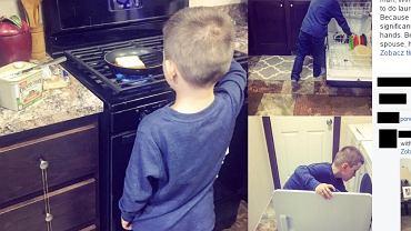 Nikkole uczy syna wykonywania domowych obowiązków