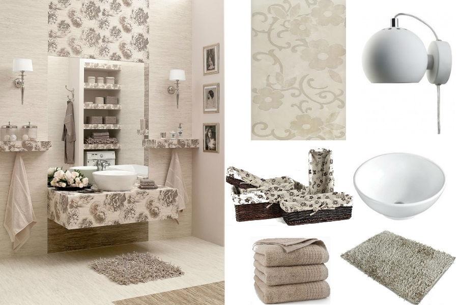 Beżowa łazienka w romantycznym stylu