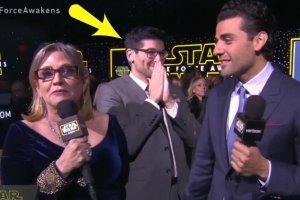 """""""Gwiezdne Wojny"""". Wywiad NA ŻYWO. Carrie Fisher chyba o tym zapomniała. Mina prezentera mówi wszystko"""