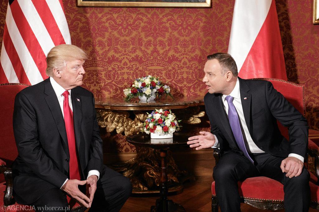 6 lipca 2017, Donald Trump i Andrzej Duda na Zamku Królewskim w Warszawie.