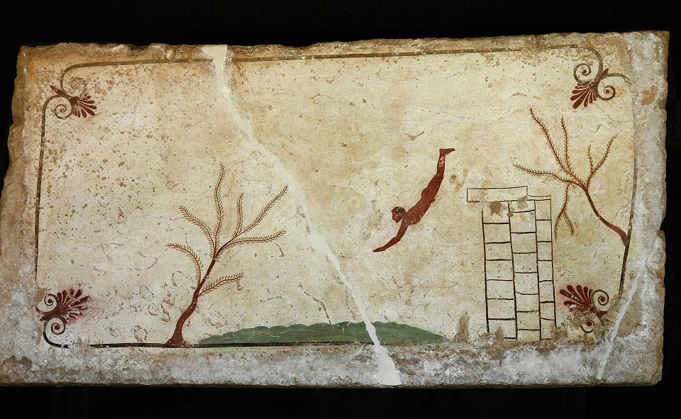 Alegoria śmierci - skoczek skacze z wieży do wody. Malunek na grobowcu, V w.p.n.e., Paestum, Włochy
