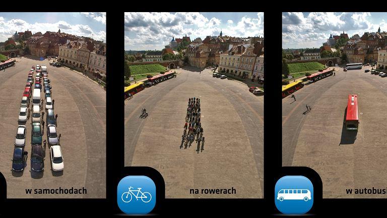 Zdjęcie porównujące przestrzeń zajmowaną przez 50 osób na rowerach, w aucie oraz w autobusie.