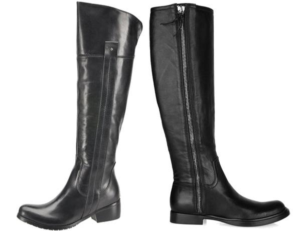 Płaskie czarne kozaki ze skóry od Dots i Miu Miu, buty, obuwie, zima 2011, jesień 2011