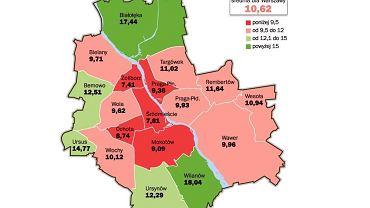 Mapa urodzeń w poszczególnych dzielnicach Warszawy