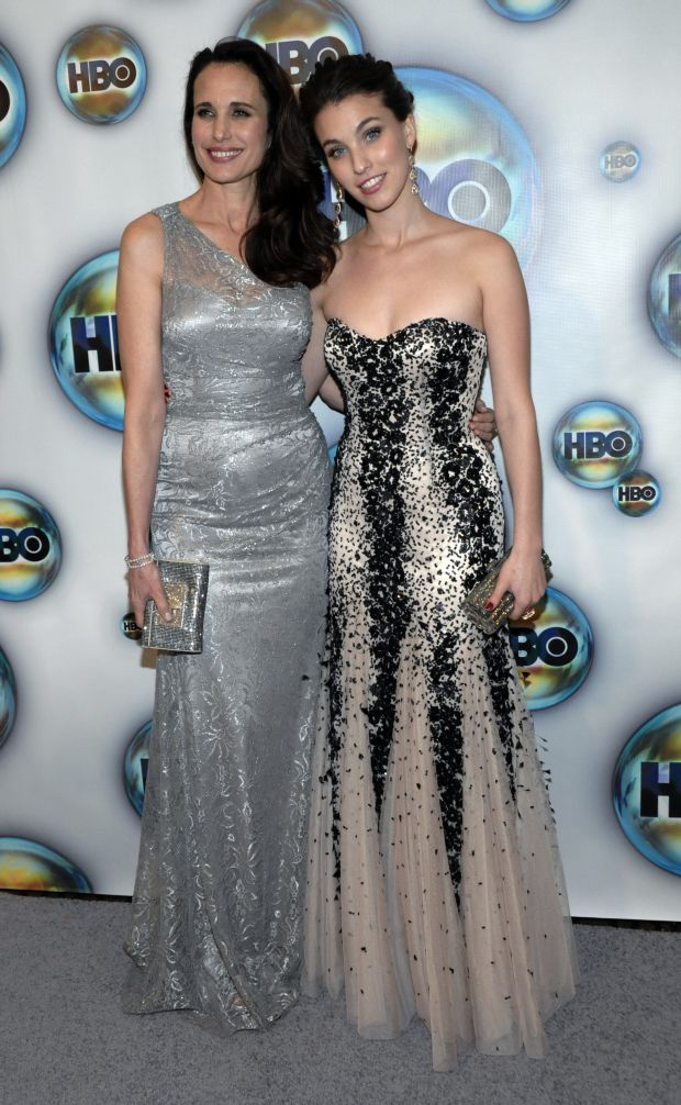 Andie MacDowell, left, and Rainey Qualley arrive at the 2012 HBO Golden Globe After Party at the Beverly Hilton in Los Angeles. on Sunday, Jan. 15, 2012. (AP Photo/Dan Steinberg)