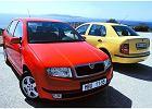 SKODA Fabia Sedan 01-04, rok produkcji 2001, sedan, widok przedni prawy, samoch�d 4-drzwiowy, kolor czerwony jasny