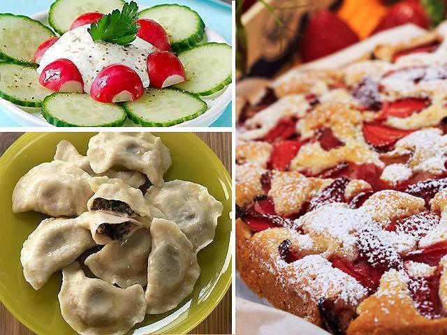 Sałatka z rzodkiewki, pierogi z botwinką i ciasto truskawkowo-rabarbarowe