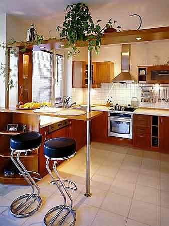 W niewielkiej kuchni zmie�ci�y si� wszystkie niezb�dne urz�dzenia i - wbrew pozorom - sporo szafek. Niewielki blat-barek oddzielaj�cy kuchni� od pokoju dziennego jest wsparty na stalowej rurze. Nad przej�ciem zamontowano p�k� z halogenowym o�wietleniem. Kuchenne okno wychodzi na loggi�, kt�ra latem pe�ni funkcj� jadalni