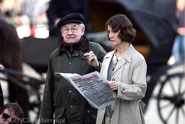 Andrzej Wajda i Maja Ostaszewska na planie filmu