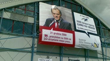 Banner wiszący na hali KDT