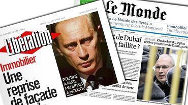 """Okładki dzisiejszych wydań """"Le Monde"""" i """"Liberation"""". 27 listopada 2009"""