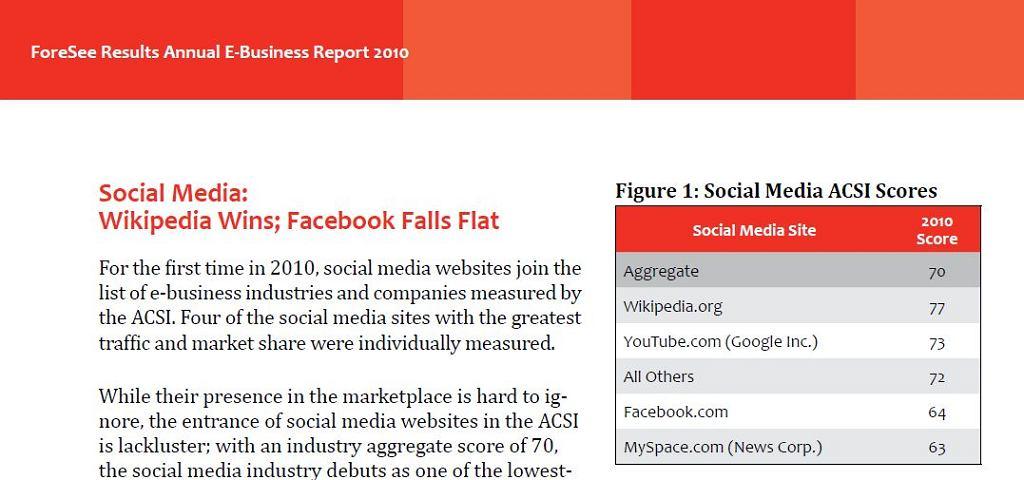 Raport zadowolenia konsumentów z usług internetowych
