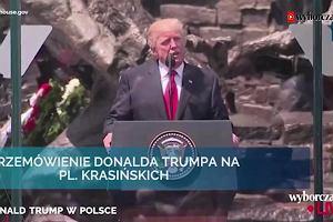 """Pełne przemówienie Donalda Trumpa w Warszawie. """"Nasze dwa kraje łączy specjalna więź wykuta w ogniach historii"""""""