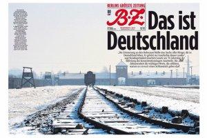"""Zdjęcie Auschwitz i podpis: """"To są Niemcy"""". Mocna okładka berlińskiego dziennika"""