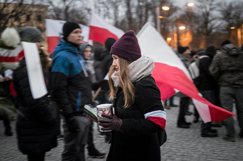 Marsz Żołnierzy Wyklętych, zorganizowany w lutym w Lublinie przez środowiska nacjonalistyczne - ONR i Młodzież Wszechpolską (fot. Jakub Orzechowski / Agencja Gazeta)