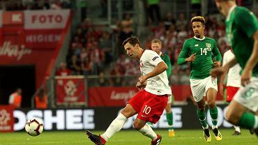 Grzegorz Krychowiak podczas meczu Polska - Irlandia na Stadionie Miejskim we Wrocławiu. 11 września 2018