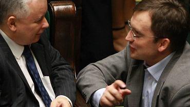 Jarosław Kaczyński i Zbigniew Ziobro w Sejmie, 25 lipca 2008 r.