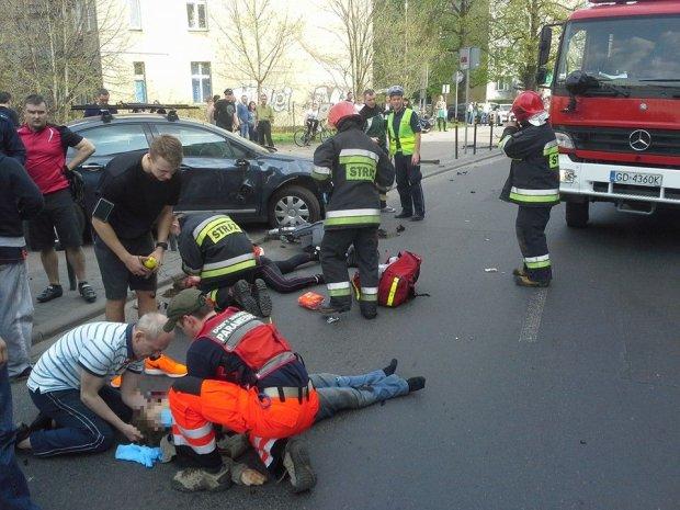 Zmar�a rowerzystka ranna w wypadku we Wrzeszczu