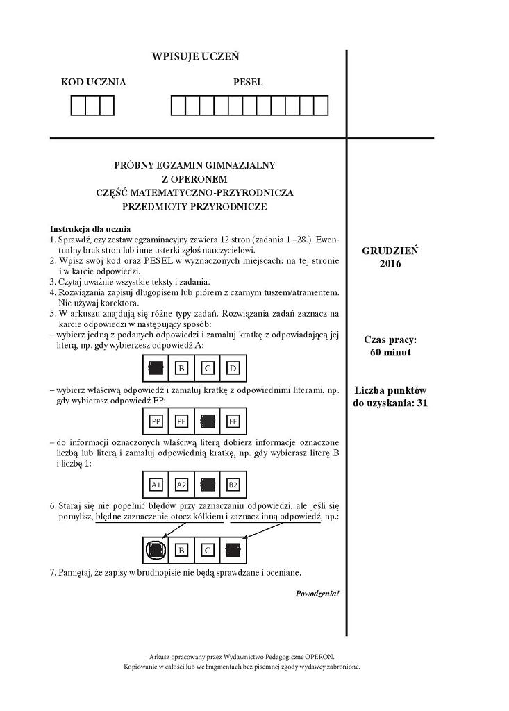 Próbny egzamin gimnazjalny Operon, przyroda, arkusz 1