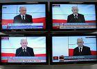 Prezes PiS Jarosław Kaczyński ogłasza zwycięstwo Bolesława Piechy podczas konferencji w siedzibie PiS w Warszawie