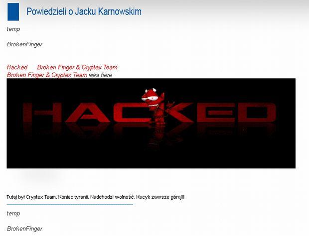 Zaatakowana przez haker�w strona prezydenta Sopotu Jacka Karnowskiego
