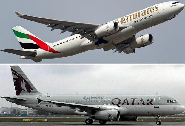 Samolot Emirates Airlines (na górze) i samolot należący do Qatar Airways
