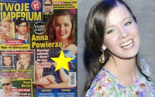 """Anna Powierza znikn�a z """"Klanu"""", bo by�a w ci��y! Pokaza�a c�rk� na ok�adce"""