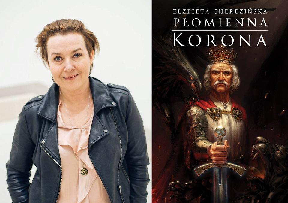 Elżbieta Cherezińska i okładka jej najnowszej książki 'Płomienna korona'