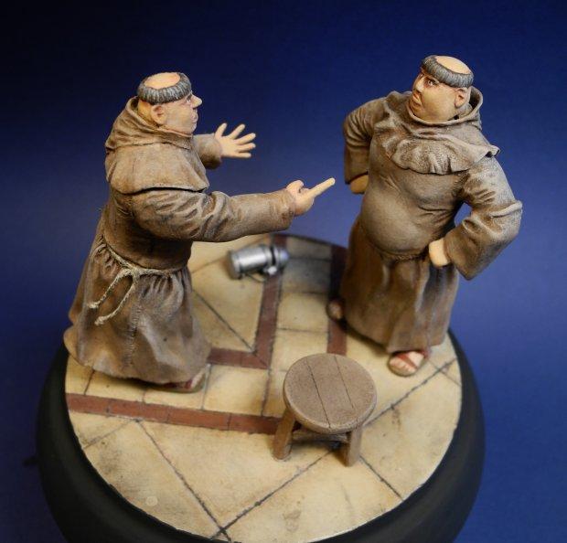 """Kłótnia mnichów, na podstawie """"Monachomachii"""" Ignacego Krasickiego, jedna z pierwszych prac Radka, rok 2004"""