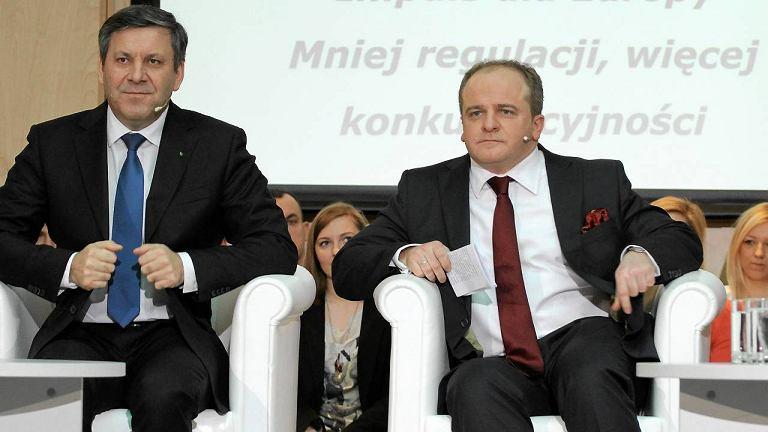 Janusz Piechociński i Paweł Kowal podczas debaty PSL i PJN