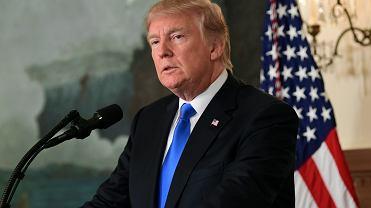 Prezydent USA Donald Trump w Białym Domu podczas wystąpienia na temat Iranu. Waszyngton, 13 października 2017 r.